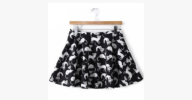 Black and White Cat Skirt