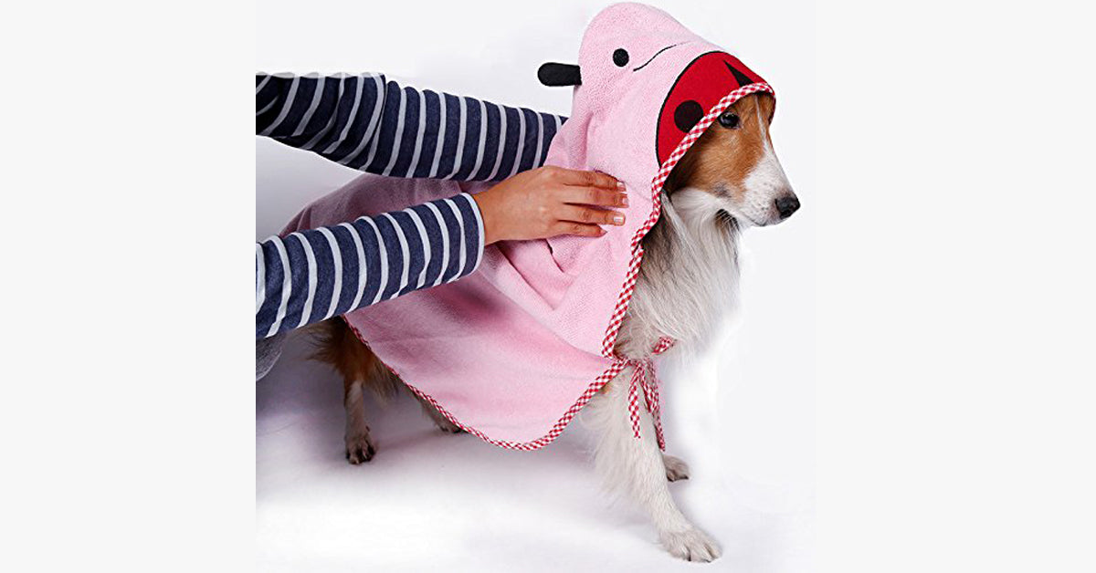 Pink Cartoon Pet Towel