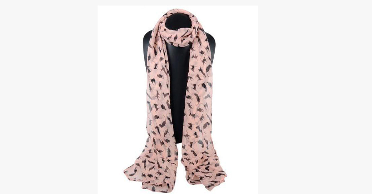 Fashion Women's Chiffon Cats Scarf