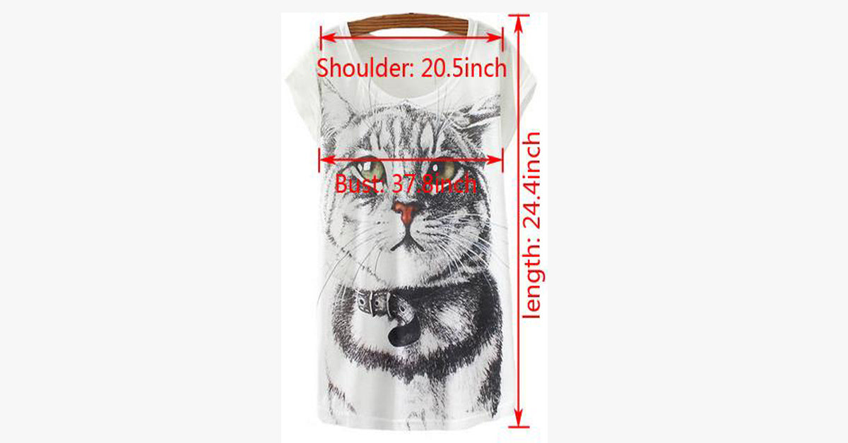 Women Short Sleeve O-Neck Tops Cat T Shirt