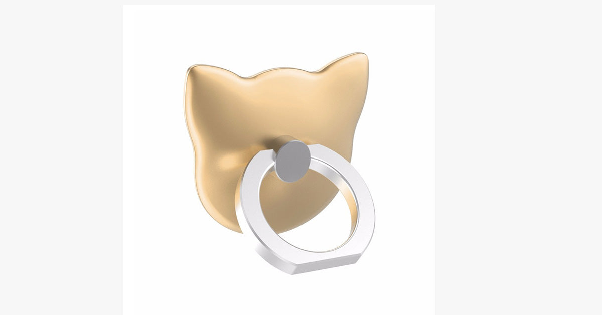 Solid Color Cartoon Cat Ring for Smartphones