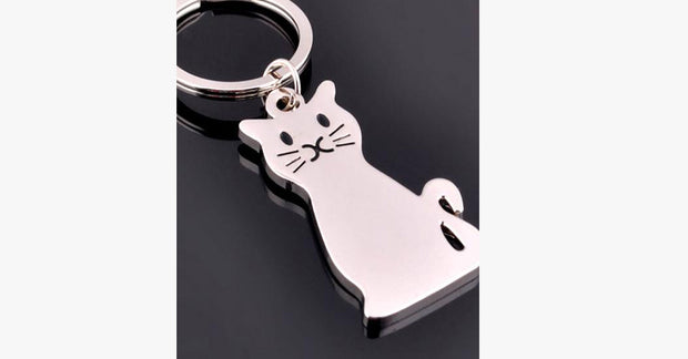 Cute Silver Platinum Cat Keychain