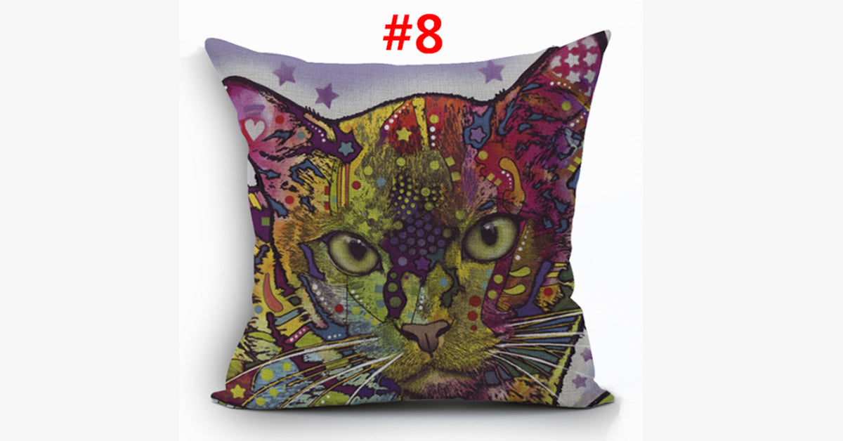 Cartoon Style Cat Decor Pillow Cases