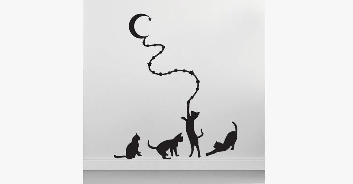 Four Cats and the Background of the Moon Stickers