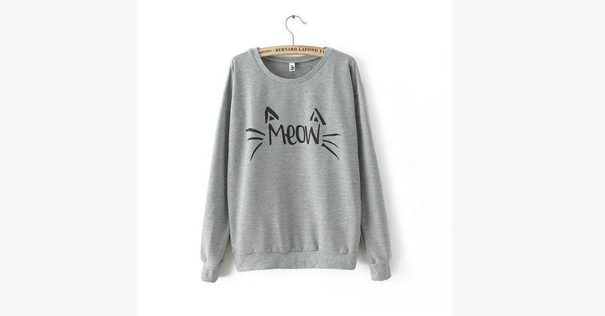 Lovely Meow Star People Ladies Sweater-Grey color