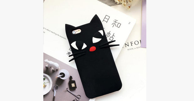 Black Cat Cartoon Silicone ipone Mobile iphone Shell