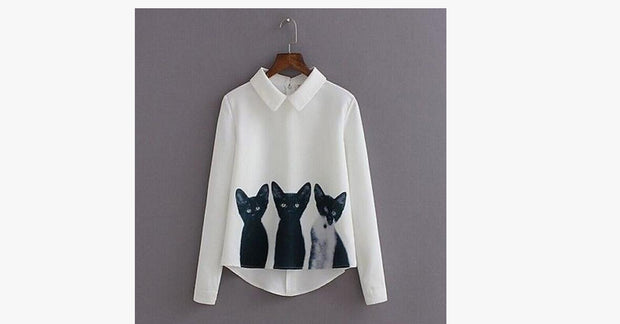 Cartoon Cat Women's Loose Chiffon Shirt