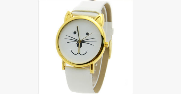 White Lovely Cat Retro Ladies Watch