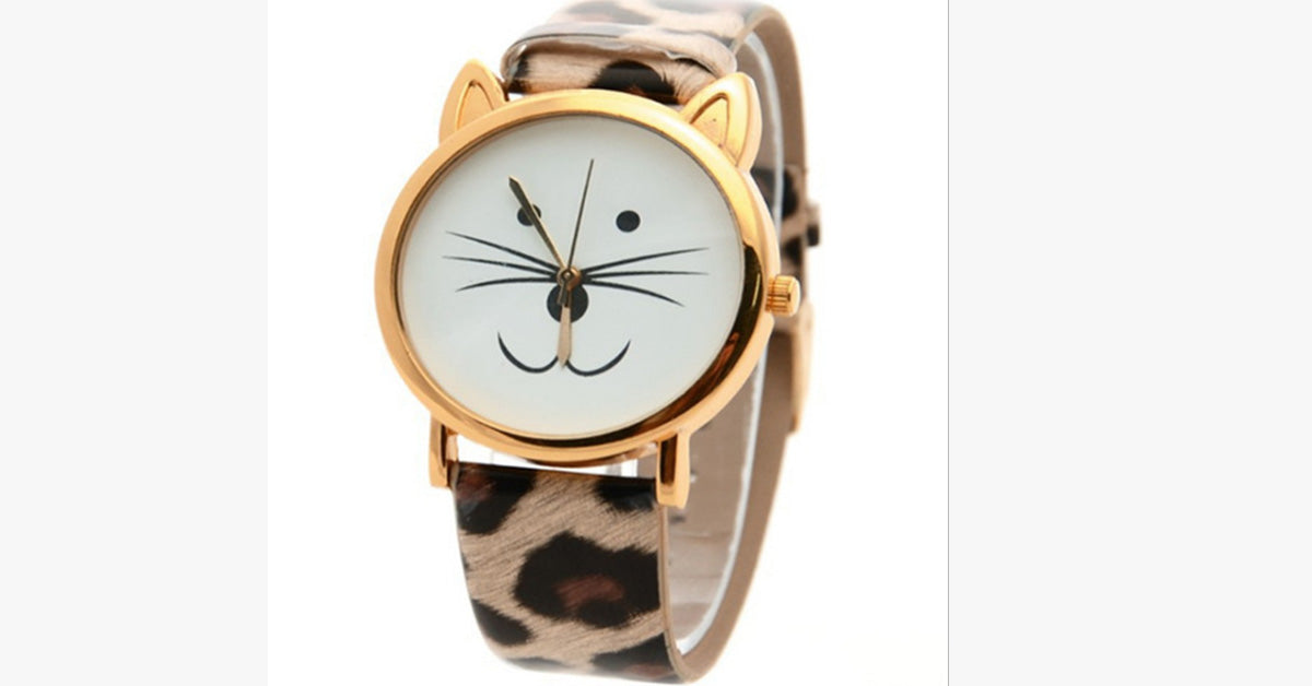 Leopard Cute Kitten Retro Ladies Watch