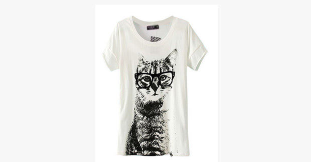 Cat Printed T-shirt Tops Tee