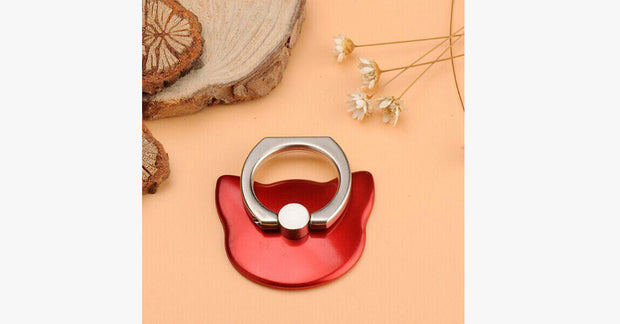Solid Color Cartoon Cat Ring for Smartphones-Red