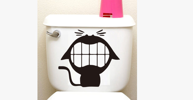 Smiling Cat Toilet Stickers