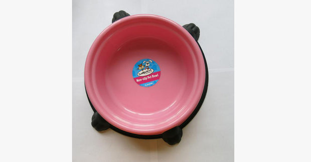 Pink Silicone Rubber Anti Slip Plastic Cat Bowl