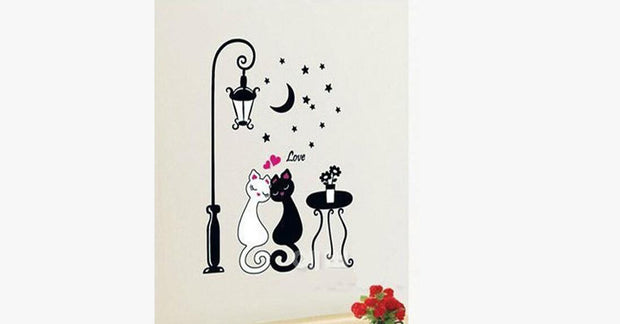 Black and White Couple Cat Cartoon Wall Stickers