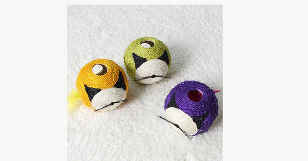Cat Sisal Interactive Ball Random Color.