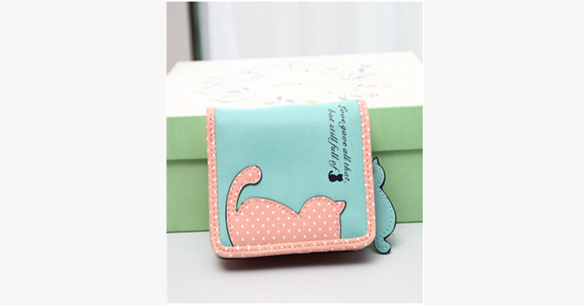 Cute Cat Women Short and Long With Card Holder Coin Purse