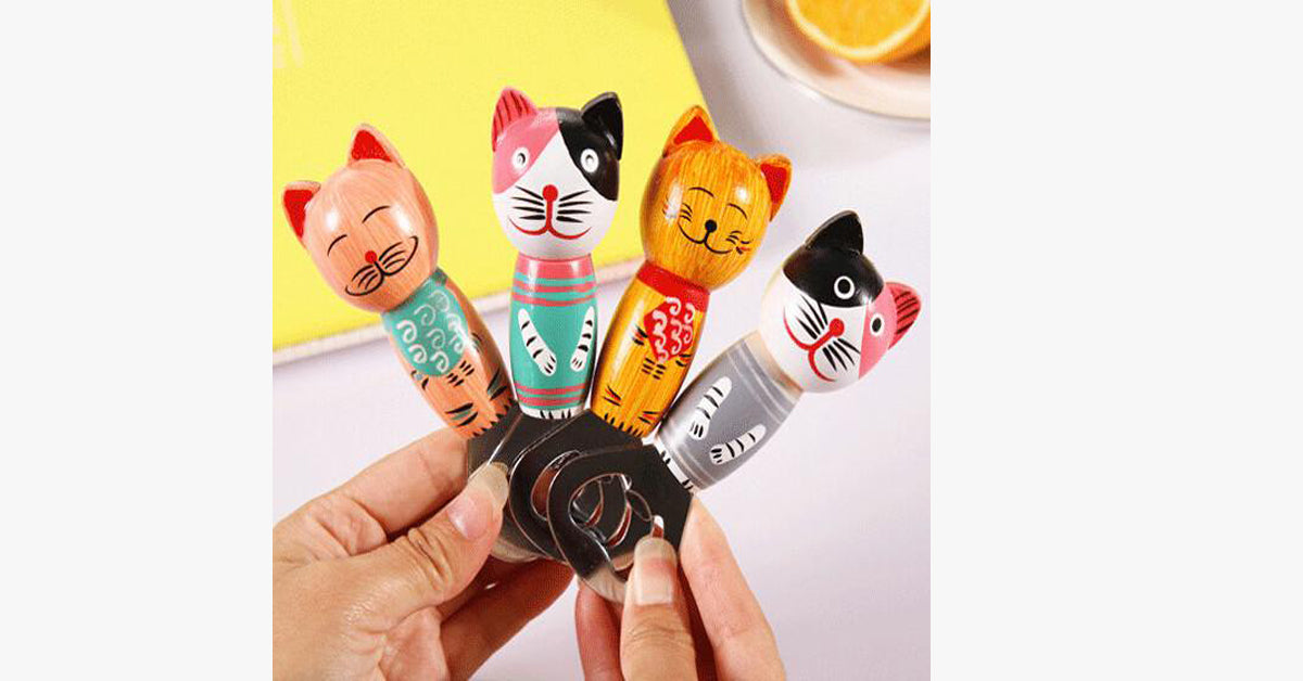 Bali Island Style Wooden Cat Creative Refrigerator Bottle Opener