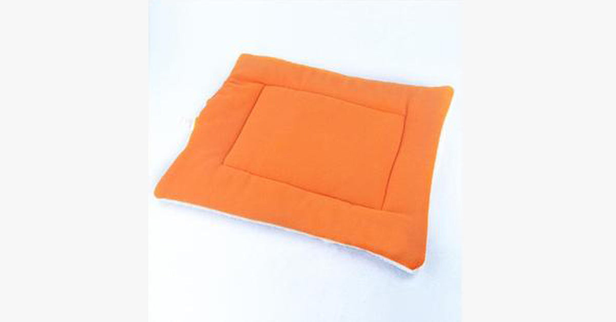 Orange Pet Cat Crate Warm Bed Mat