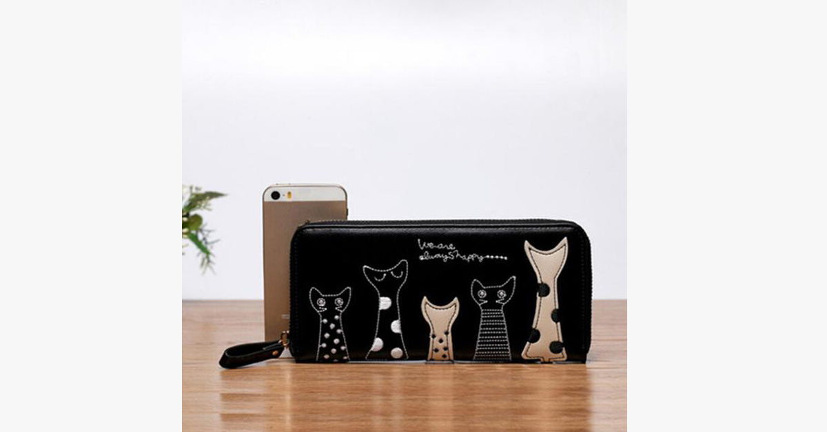 Cartoon Version Of the Cat Long Wallet-Black color