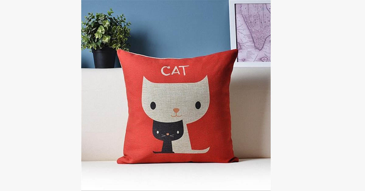 Cat Red pillow cover