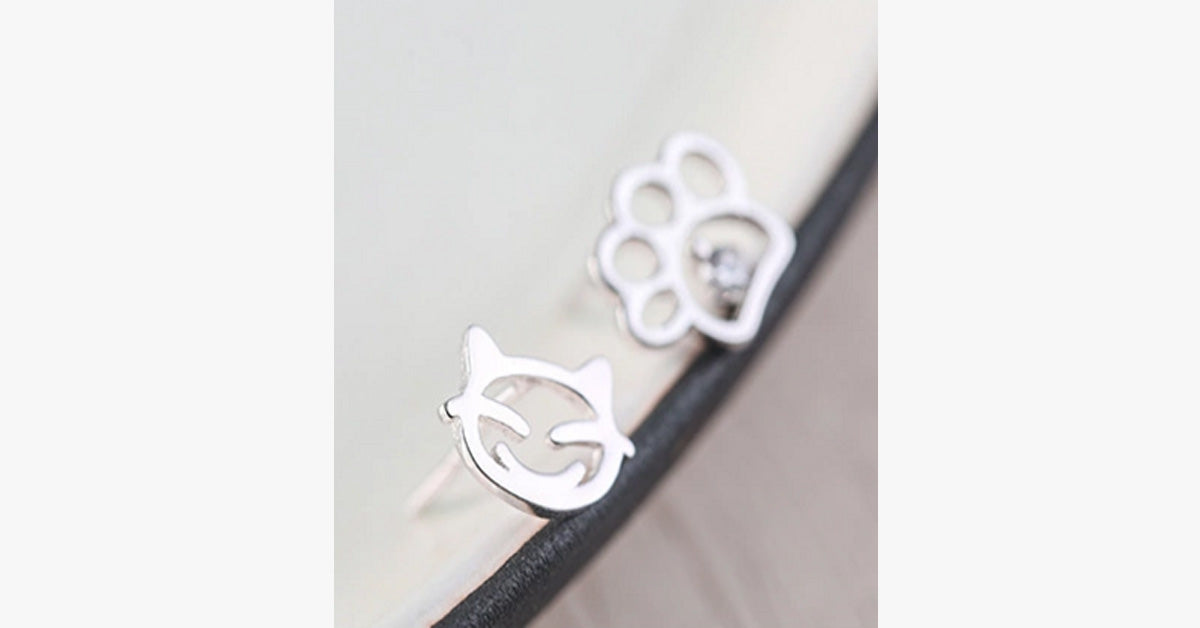 Cute Cat Asymmetric Sterling Silver Earrings
