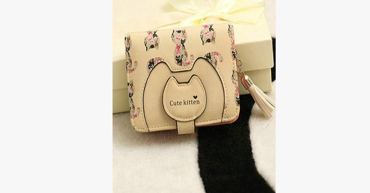 Cute Cartoon Cat Lady Short Wallet Card Bag