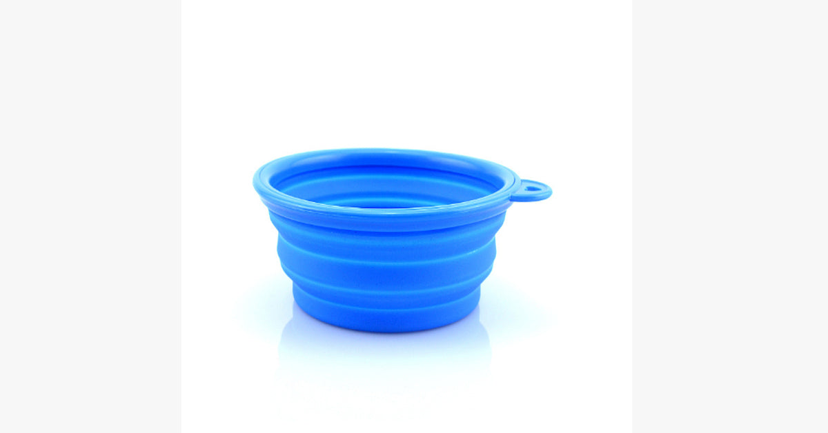 Cats Pet Portable Silicone Collapsible Travel Feeding Bowl