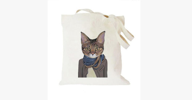 285237e0a7 Simple Canvas Bag With Scarf Cat