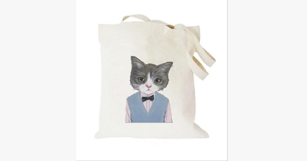 Wearing A Tie of the Cat Simple Canvas Single Shoulder Bag