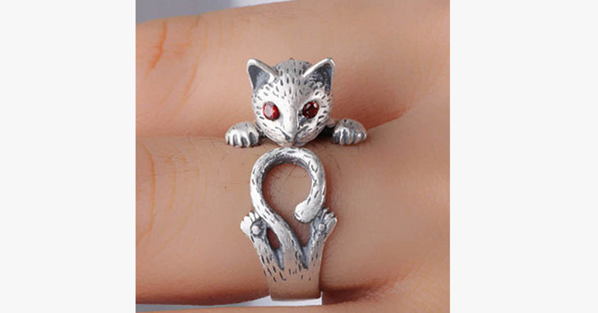 Thai Silver-Plated Vintage Cat Ring