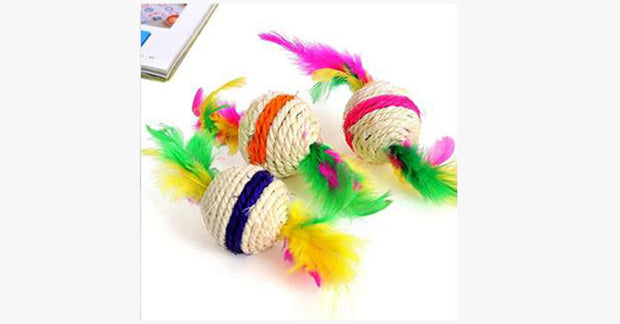 Sisal Cat Sphere with Feather Headed Cat Toys