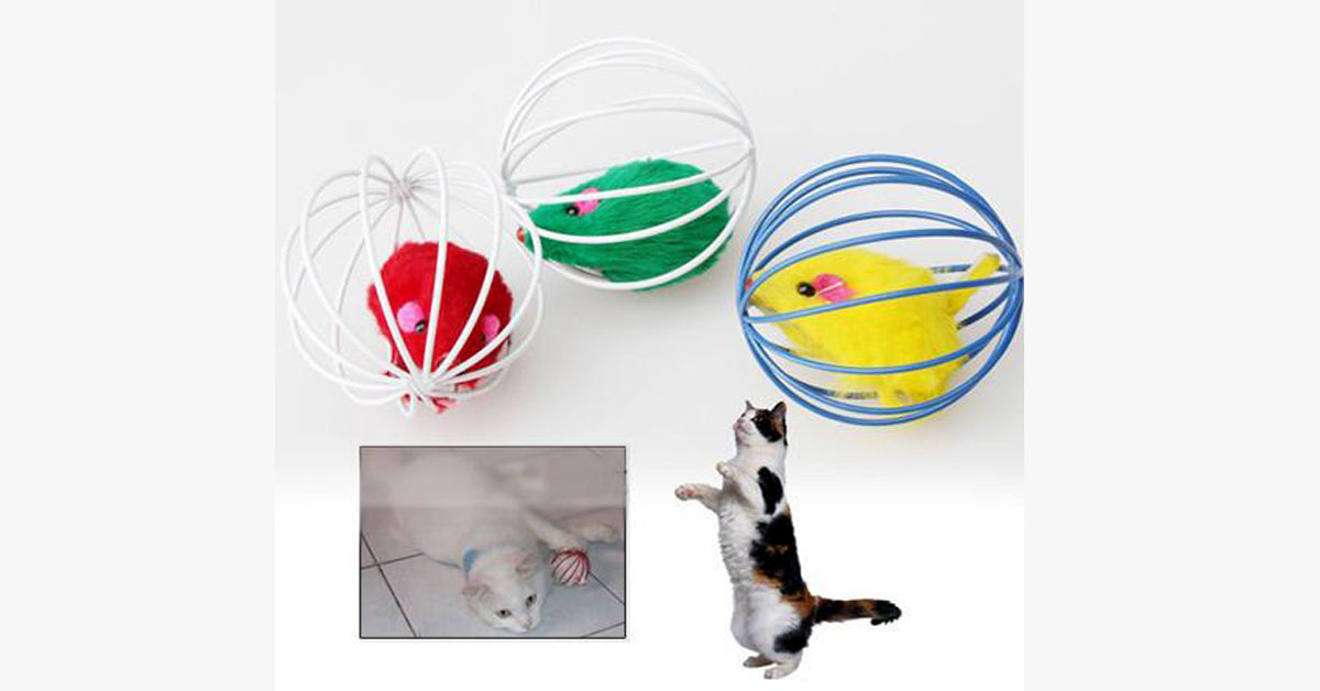 Toys False Mouse in Rat Cage Ball For Pet Cat Play