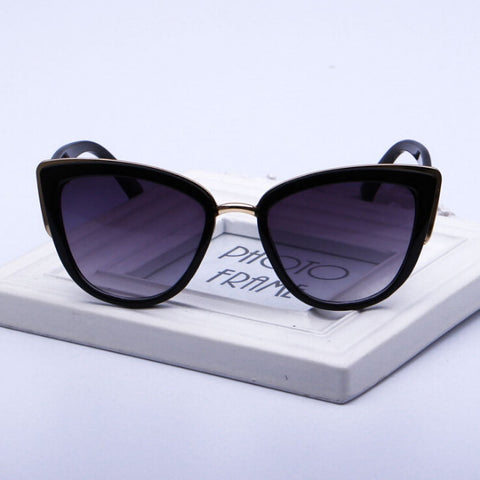 Europe and the United States Anti UV Cat's Eye Shape Sunglasses-Black color