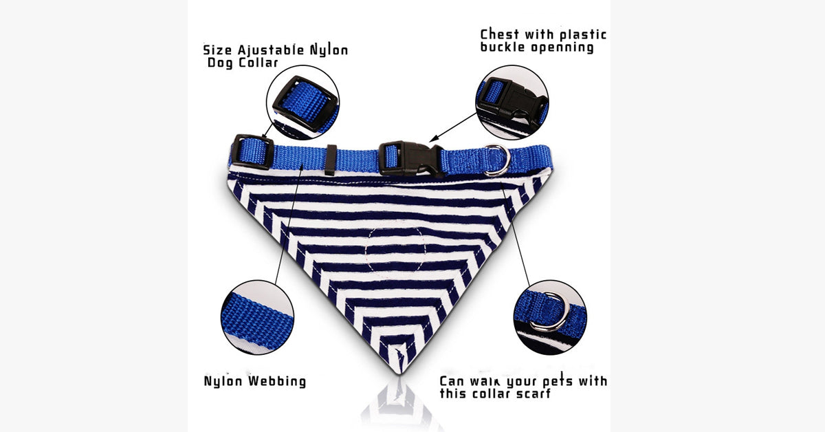Blue Striped Navy Sailor Pet Cat Triangle Tie