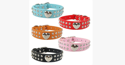 Heart Rhinestone Cat Collar