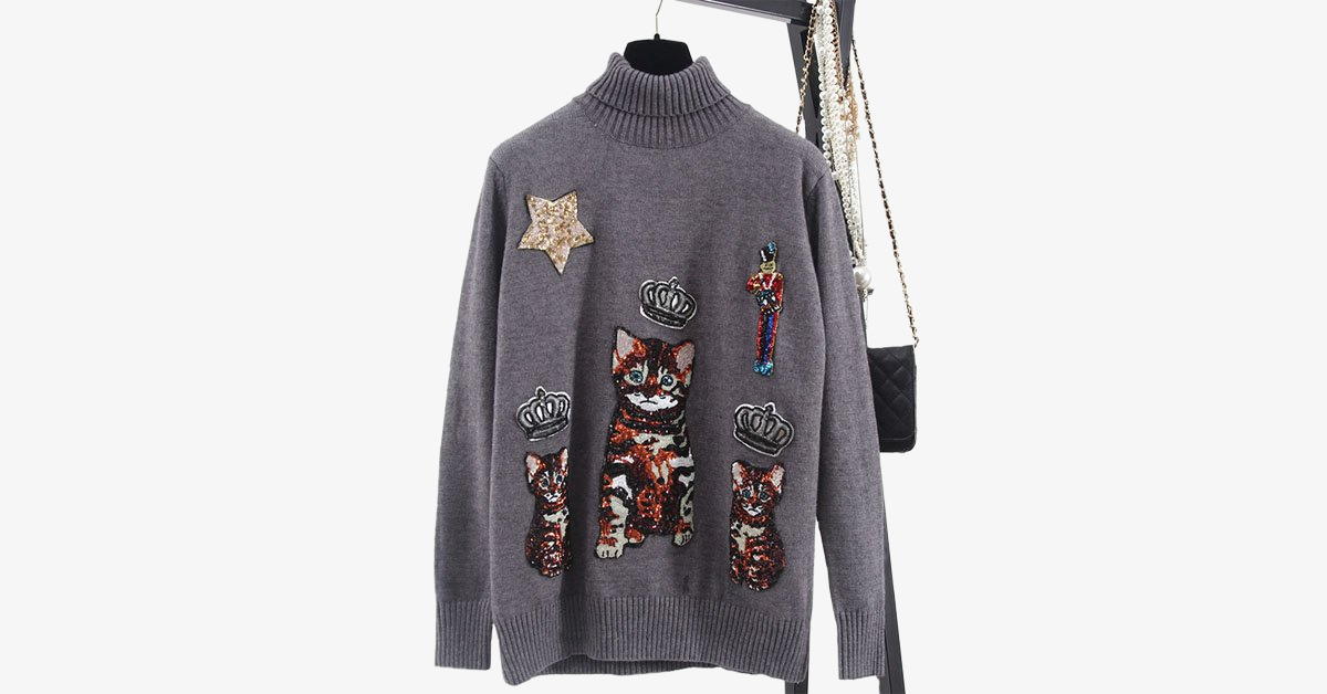 High Profile Stars Glitter Kitty Sweater- Gray
