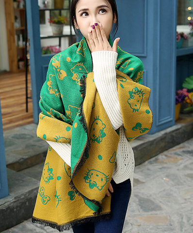 Cat pattern Double-sided Cashmere Extra Long Scarf Shawl-Green and Yellow
