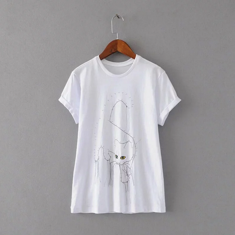 Stereo Tassel Embroidery Cat Short Sleeve T-shirt