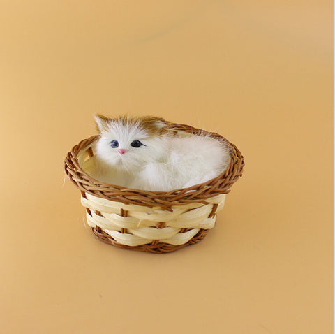 Realistic Basket Cat Ornament