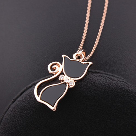Rose Gold Cat Pendant