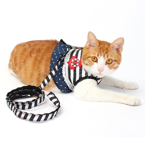 Stripe Anchor Pet Cat Harness