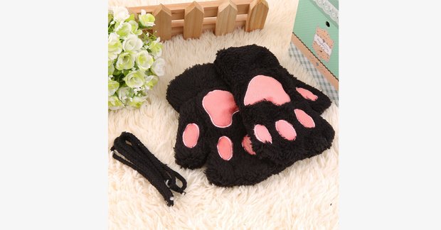 Thickened Villi Bear Half Finger Gloves