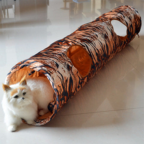 Tiger Striped Double Hole Cat Tunnel