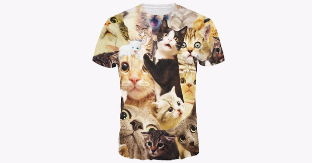 3D Full Printed Cat Men's T-shirt