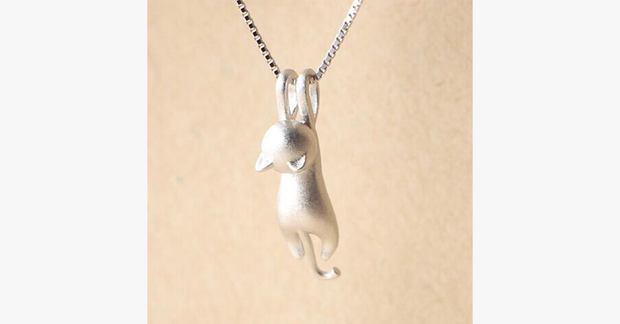 Cute Climbing Cat Pendant with Chain