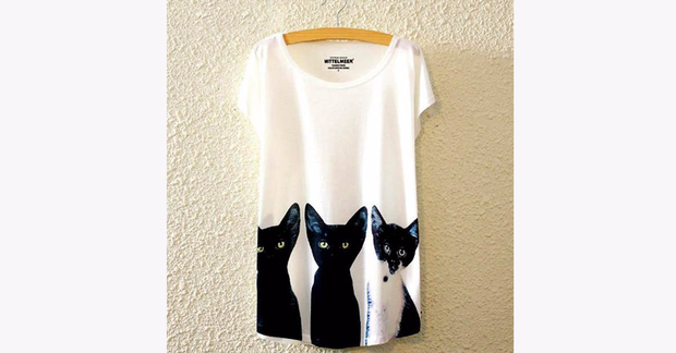 Abstract Black Kitty Cat Tee