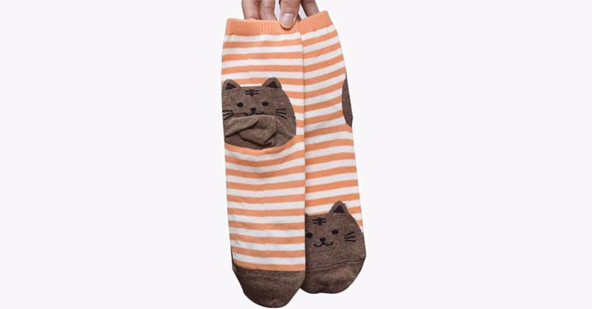 3D Cartoon Women Cat Footprints Cotton Socks - 3 Pack