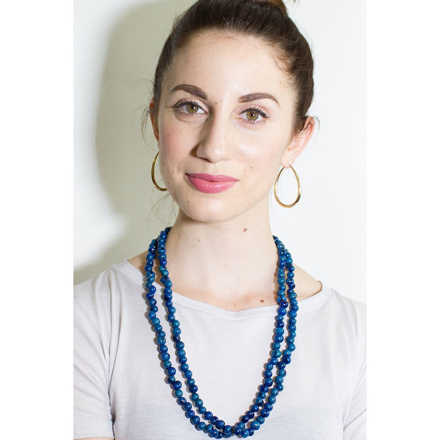 Acai Bead Necklaces by Melko in Electric Blue