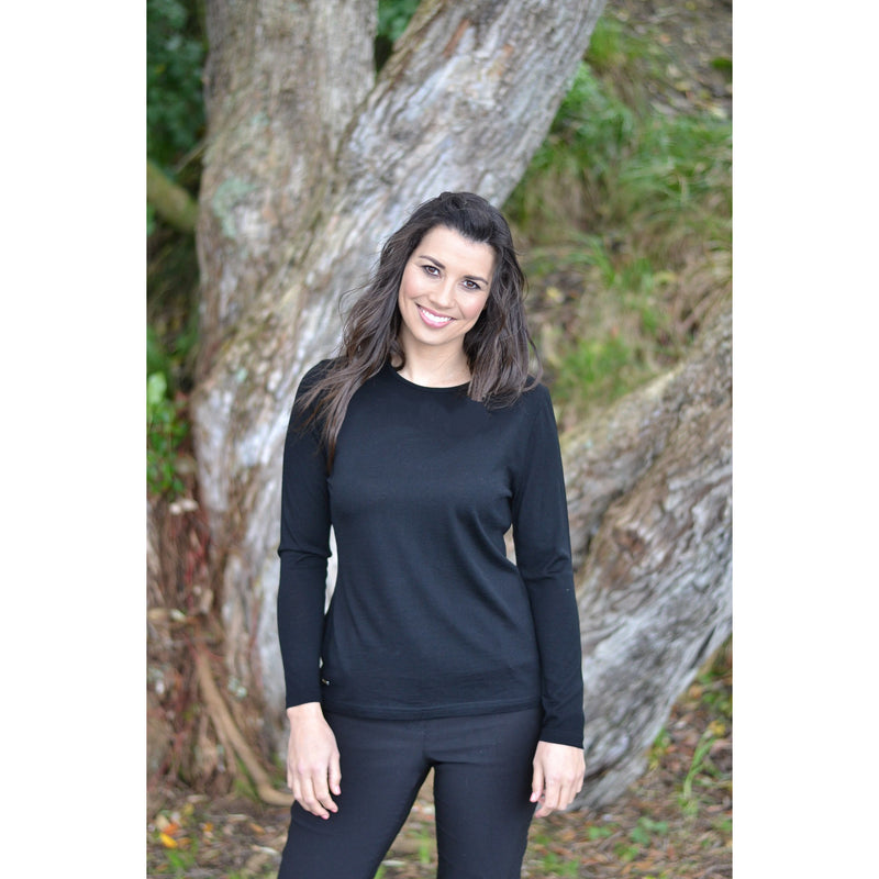 Ebony Merino Wool Self Trim Round Neck Top in Black