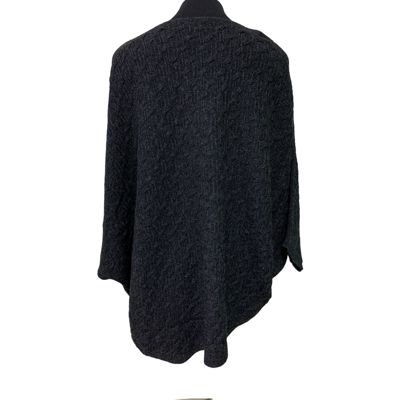 See Saw Lambswool Cable Cape in Charcoal
